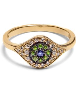 Diamond, Sapphire, Tsavorite & Yellow-gold Ring