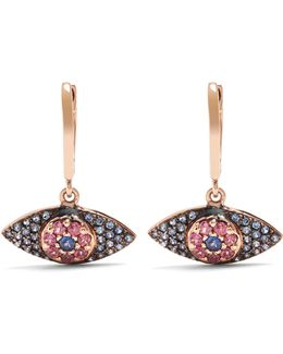 Sapphire, Rodolites & Pink-gold Earrings