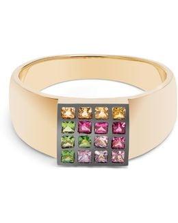 Sapphire, Ruby, Tsavorite & Yellow-gold Ring