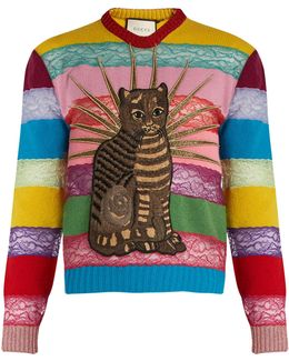Cat Embroidered Lace & Wool Sweater