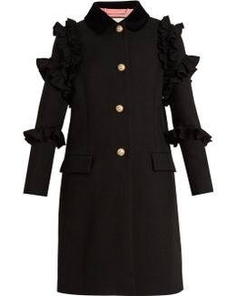 Ruffle-trimmed Single-breasted Wool Coat
