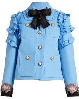 Ruffle-trimmed Cotton-blend Cady Jacket