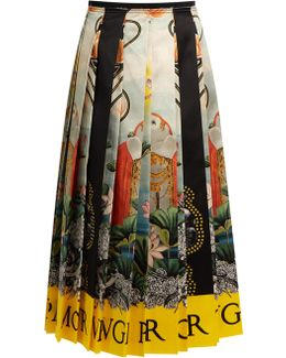 Elephant And Waterlily-print Pleated Satin Skirt