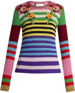 Floral-appliqué Striped Wool-blend Sweater