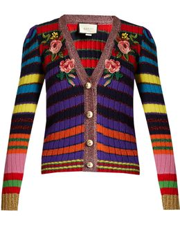Floral-appliqué Striped Wool-blend Cardigan