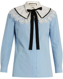 Lace-trimmed Neck-tie Cotton Shirt