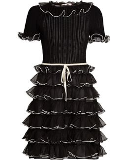 Pointelle-knit Short-sleeved Ruffled Silk Dress