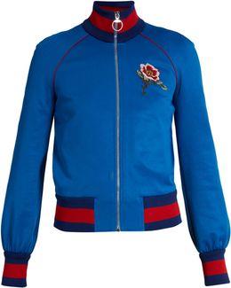 Flower And Tiger-appliqué Jersey Bomber Jacket