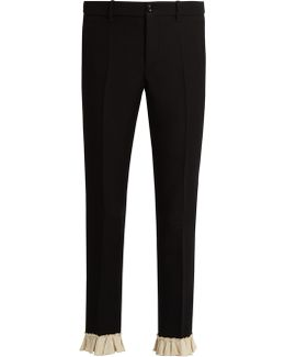 Ruffle-trimmed Silk And Wool-blend Cady Trousers