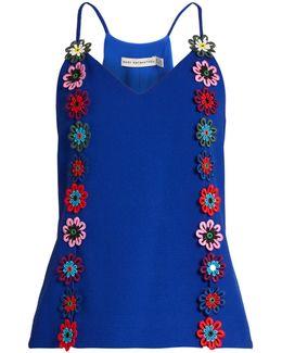 Osbourne Floral-lace Embellished Crepe Cami Top