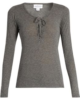 Mandee Lace-up Long-sleeved Top