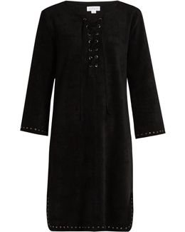 Raleigh Lace-up Faux-suede Dress