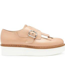 Monk-strap Fringed Leather Flatform Shoes