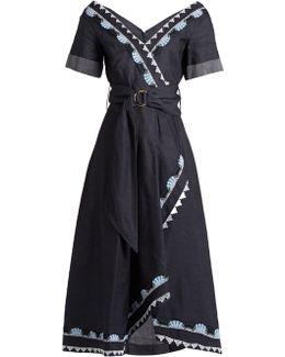 V-neck Cotton And Linen-blend Dress