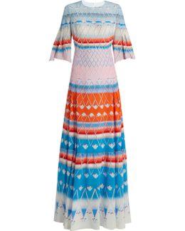Multi-print Silk Pleated Maxi Dress