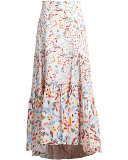Abstract-print Dip-hem Skirt