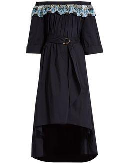 Off-the-shoulder Cotton-blend Dress