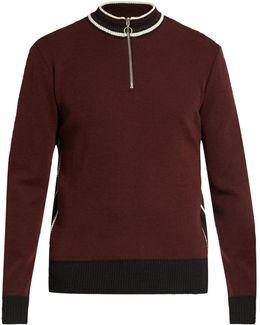 Striped-collar Wool Sweater