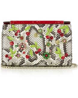Vanite Cherry-embroidered Snakeskin Clutch