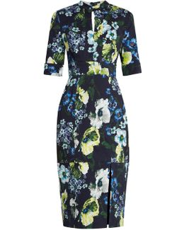 Davina Hasu Night-print Cotton-blend Twill Dress