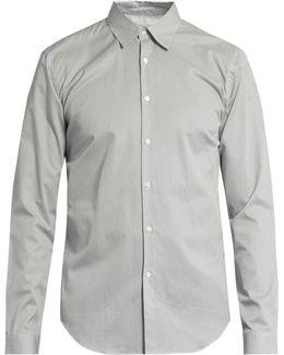 Geometric-print Button-cuff Cotton Shirt