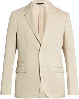 Single-breasted Cotton And Linen-blend Blazer