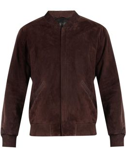 Satin-trimmed Suede Bomber Jacket