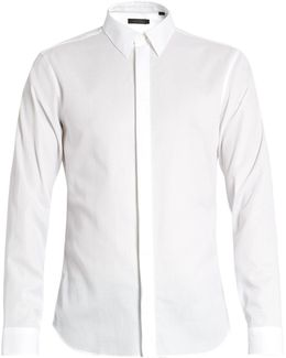 Single-cuff Point-collar Cotton Shirt