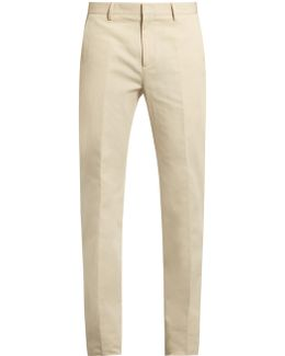Exact Slim-fit Cotton And Linen-blend Trousers