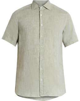 Regular-fit Short-sleeved Linen Shirt