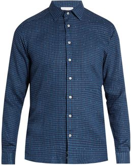 Pin-dot And Checked Linen-blend Shirt