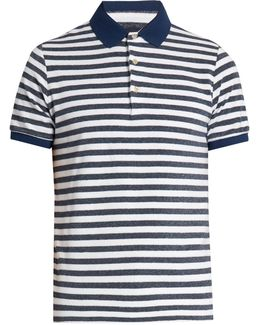 Striped Terry-towelling Polo Shirt