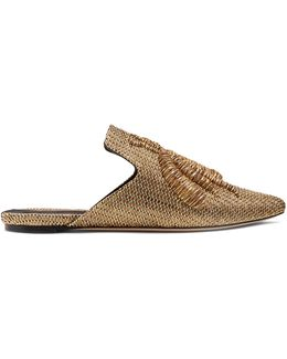 Ragno Embroidered Faille Slipper Shoes