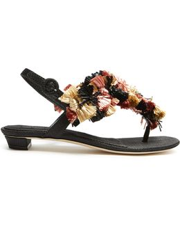 Gongora Raffia-embellished T-bar Sandals