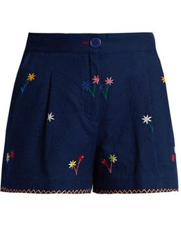 Macha Floral-embroidered Cotton Shorts