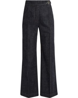 Harlan High-rise Wide-leg Cotton Trousers