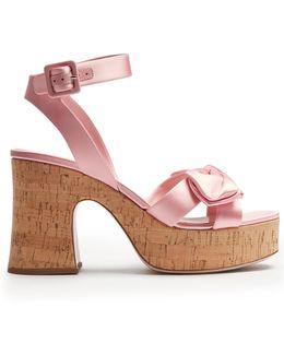 Bow-detail Satin Platform Sandals