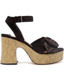 Buckle-detail Suede And Satin Platform Sandals