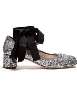 Glitter Block-heel Ballet Pumps