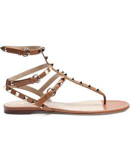 Rockstud Leather Flat Sandals