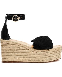Tropical Bow Suede Wedge Sandals