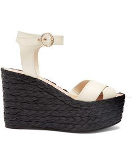 Nuevitas Cross-strap Leather Wedge Sandals