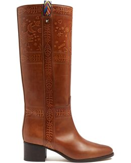 Embossed Leather Knee-high Boots