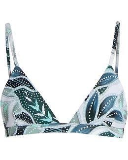 Sea Tree-print Triangle Bikini Top