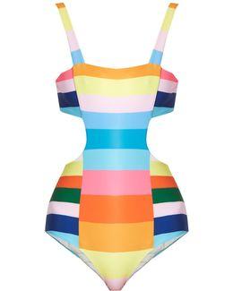 Vela Rainbow-stripe Print Swimsuit