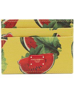 Watermelon-print Leather Cardholder