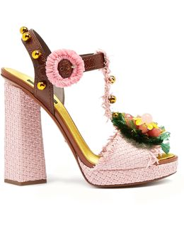 Embellished Raffia Block-heel Sandals