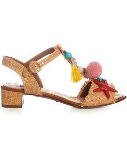Pompom And Shell-embellished Raffia Sandals