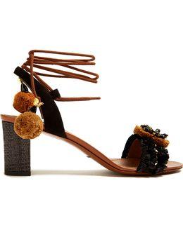Flower-appliqué Embellished Raffia Sandals