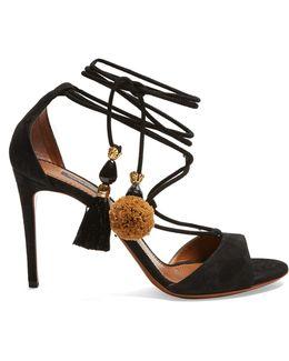 Pompom-tassel Suede Sandals